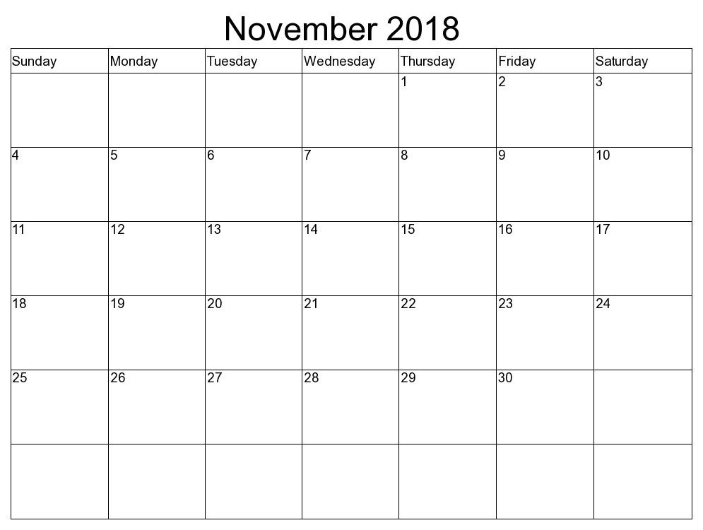 November 2018 Blank Templates To Print