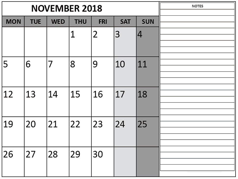 November 2018 Blank Templates with Adding Notes