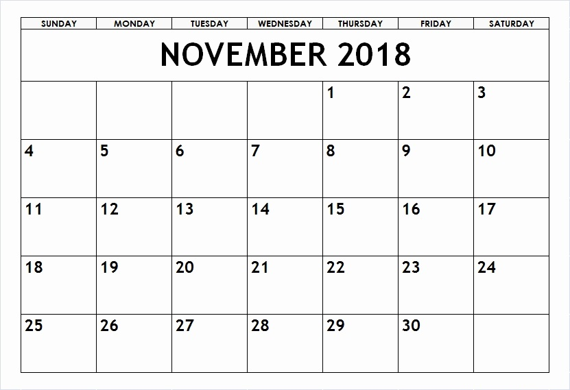 November 2018 Blank Templates