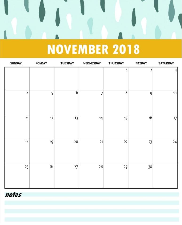 November 2018 Calendar Designs