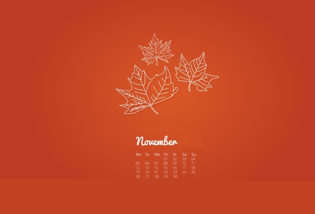 November 2018 Calendar For Background