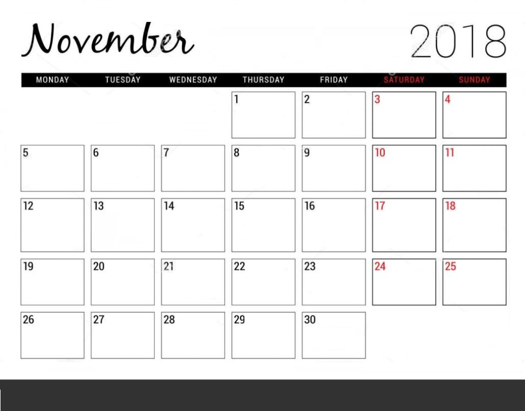 November 2018 Calendar Template