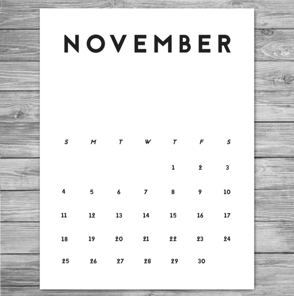 November 2018 Desk Calendar Designs