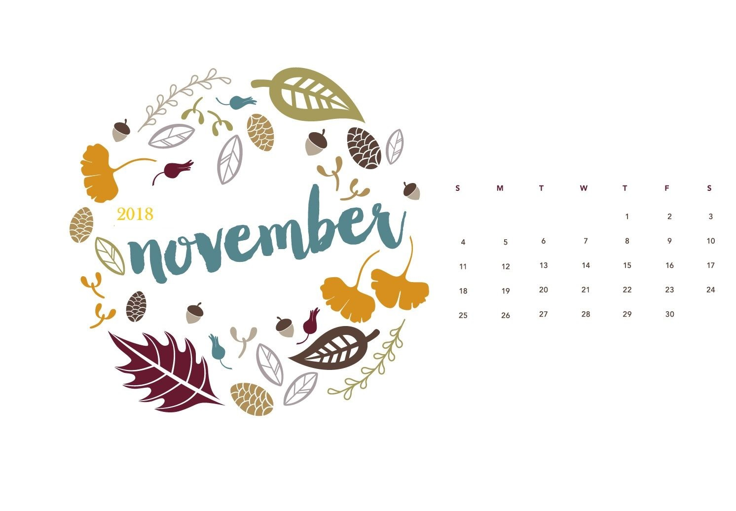 November 2018 Desktop Calendar Designs