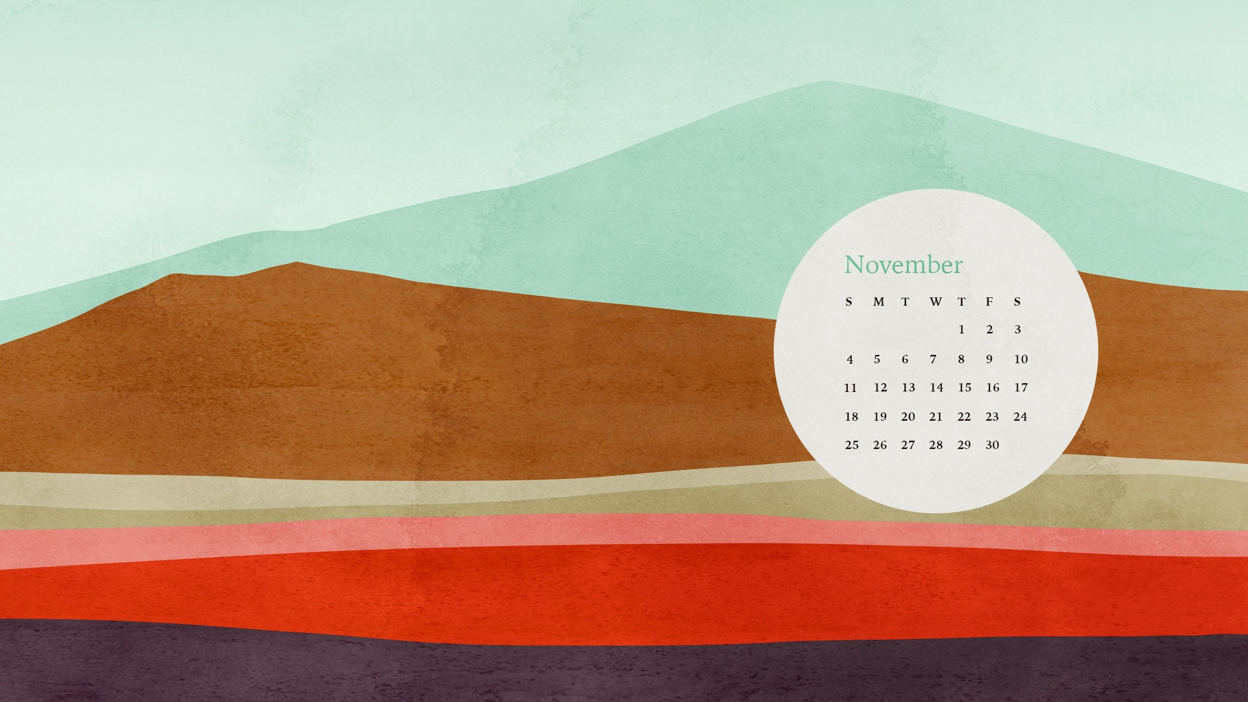November 2018 Desktop Calendar Designs