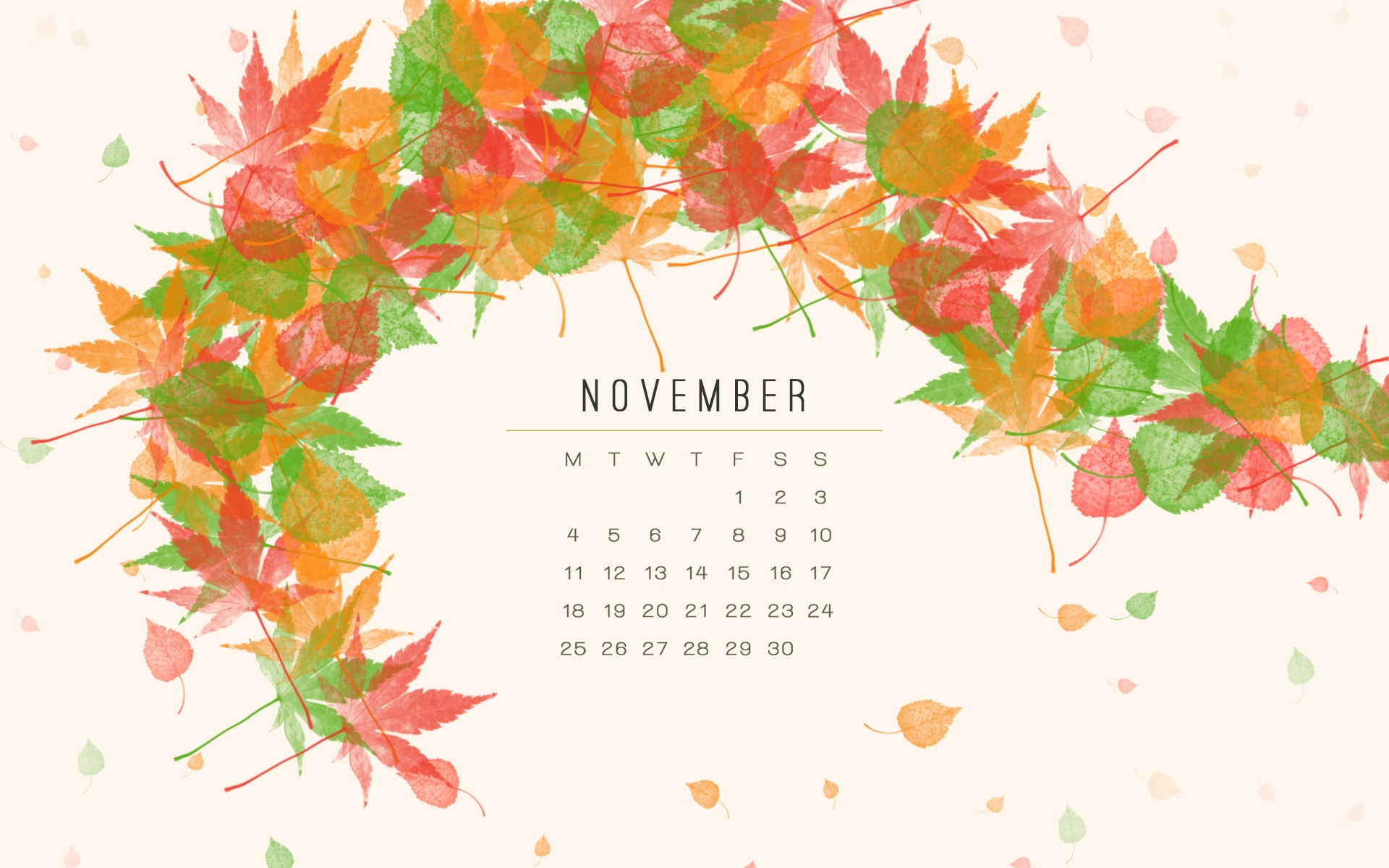 November 2018 Desktop Calendar For Background