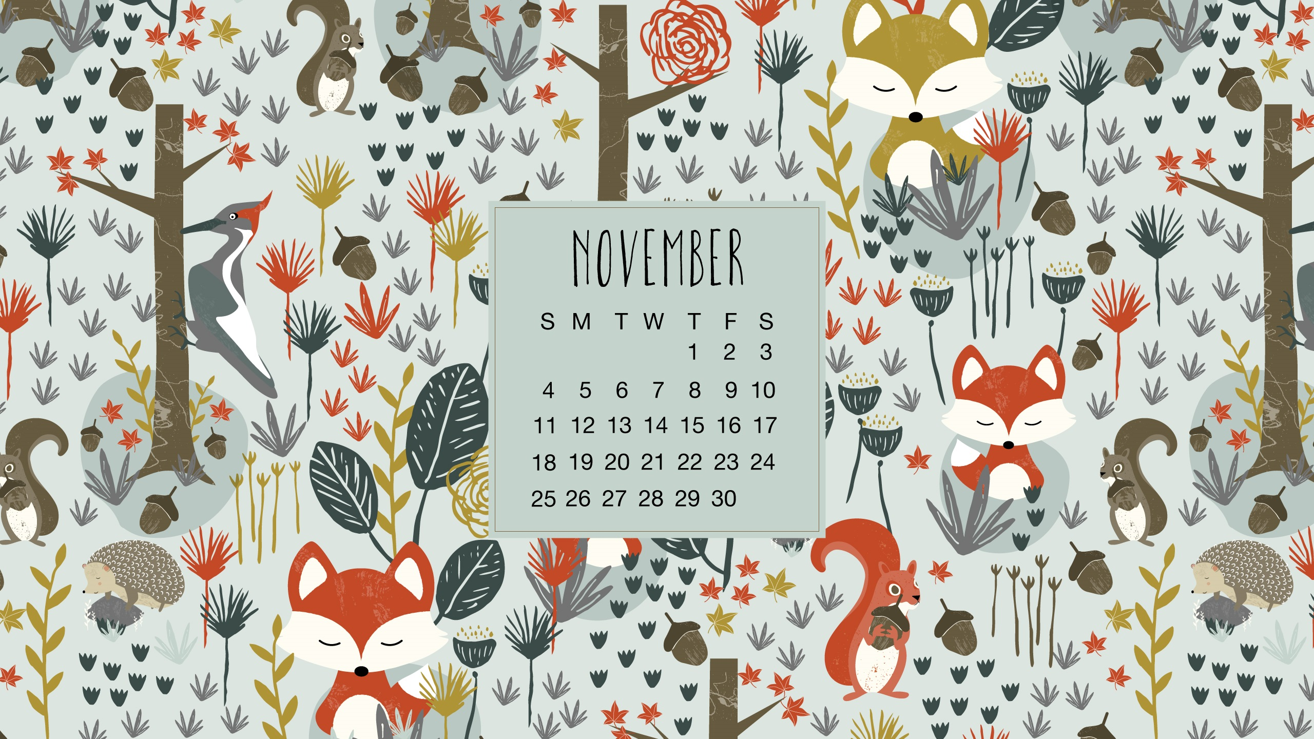 November 2018 Desktop Calendar Graphics
