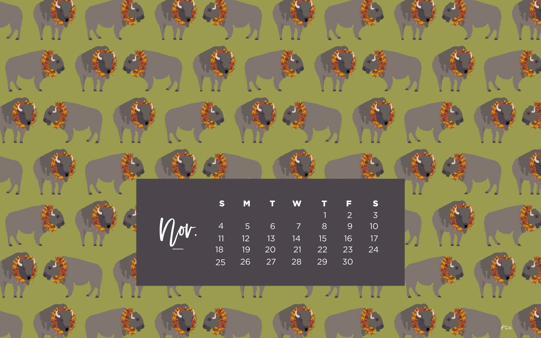 November 2018 Desktop Calendar Wallpaper
