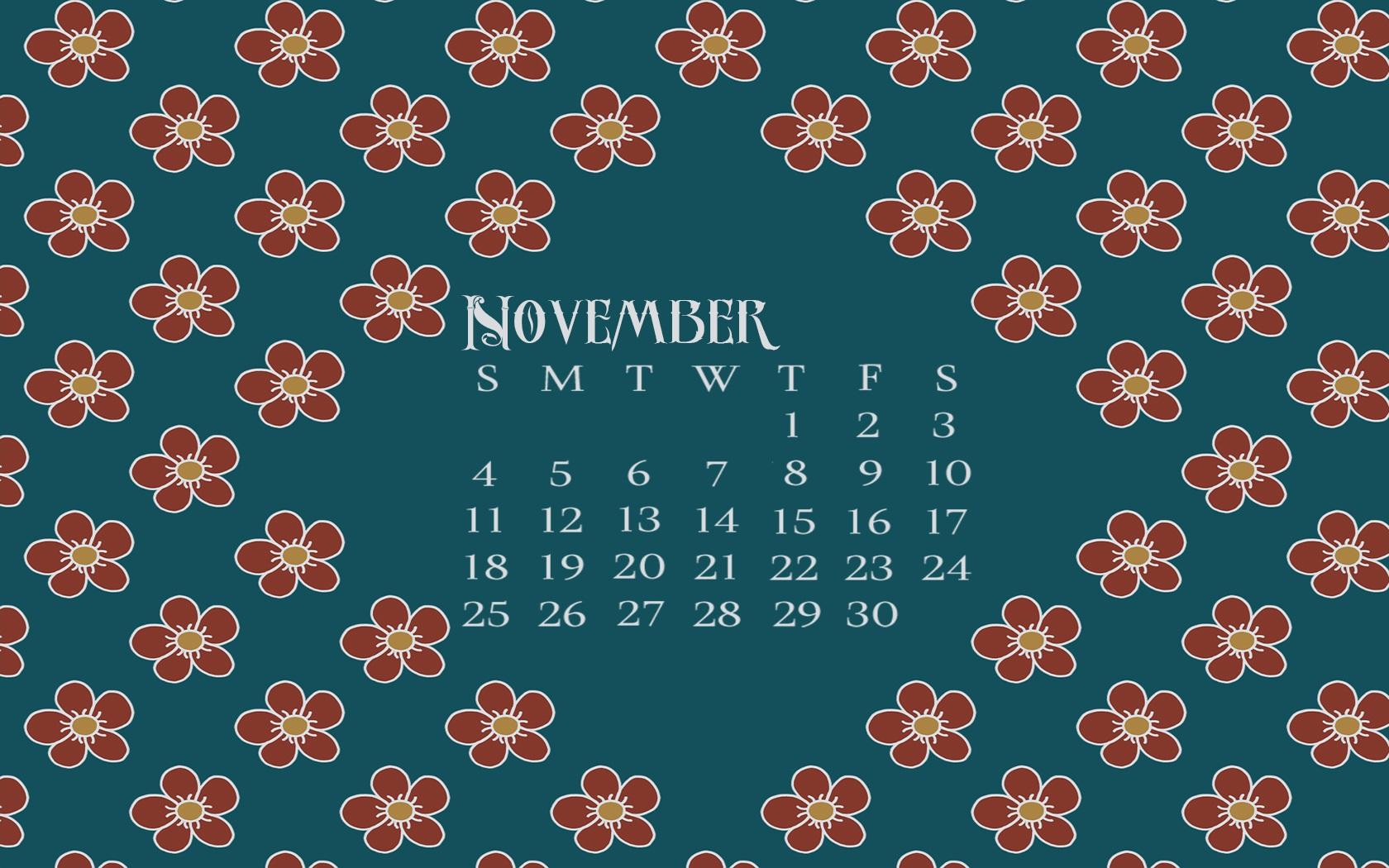 November 2018 Desktop Floral Calendar