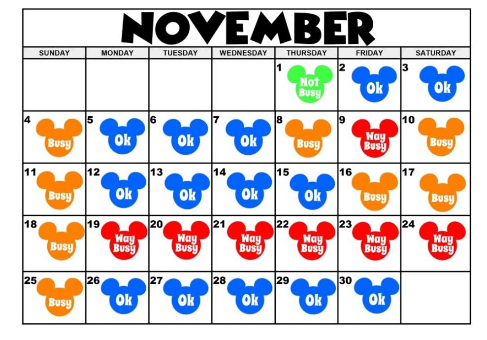 November 2018 Disney Calendar Designs