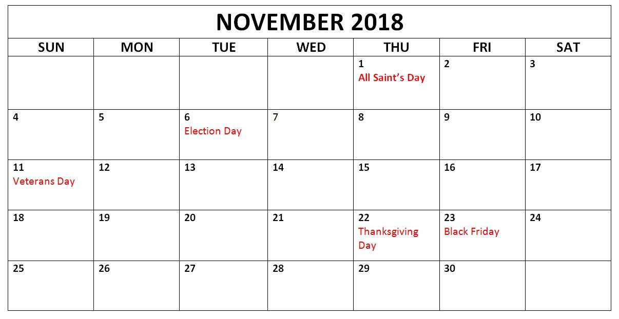 November 2018 Holidays Calendar Planner
