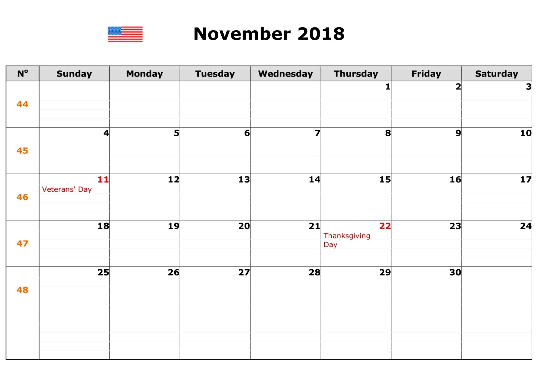 November 2018 Holidays Calendar for USA