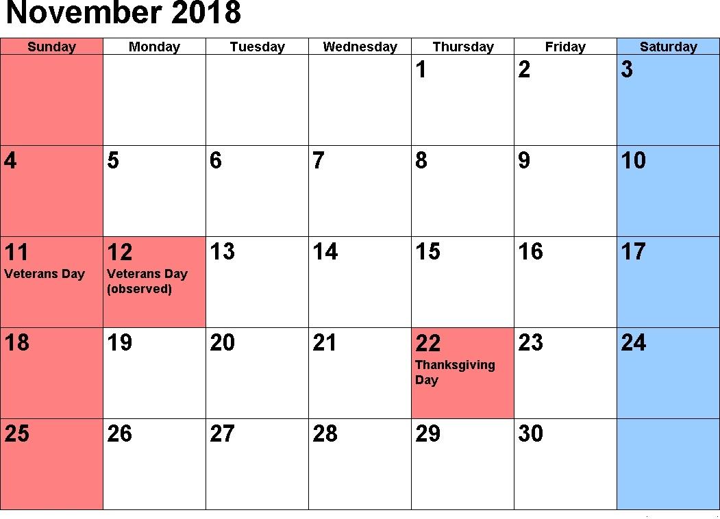 November 2018 Holidays Calendar