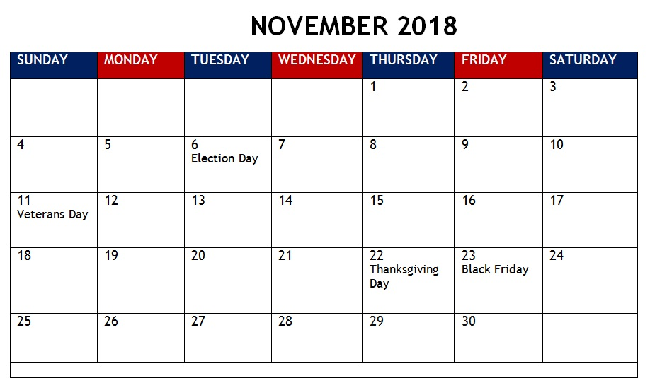 November 2018 Holidays Templates