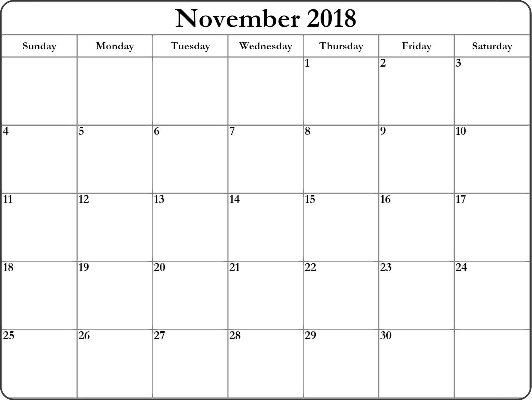 November 2018 Monthly Blank Templates
