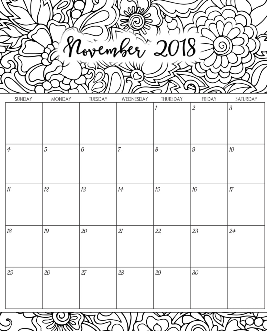 November 2018 Monthly Calendar Designs