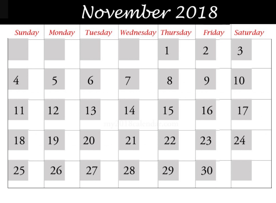 November 2018 Printable Templates