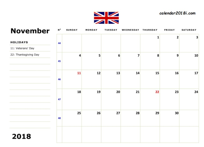 November 2018 UK Holidays Calendar