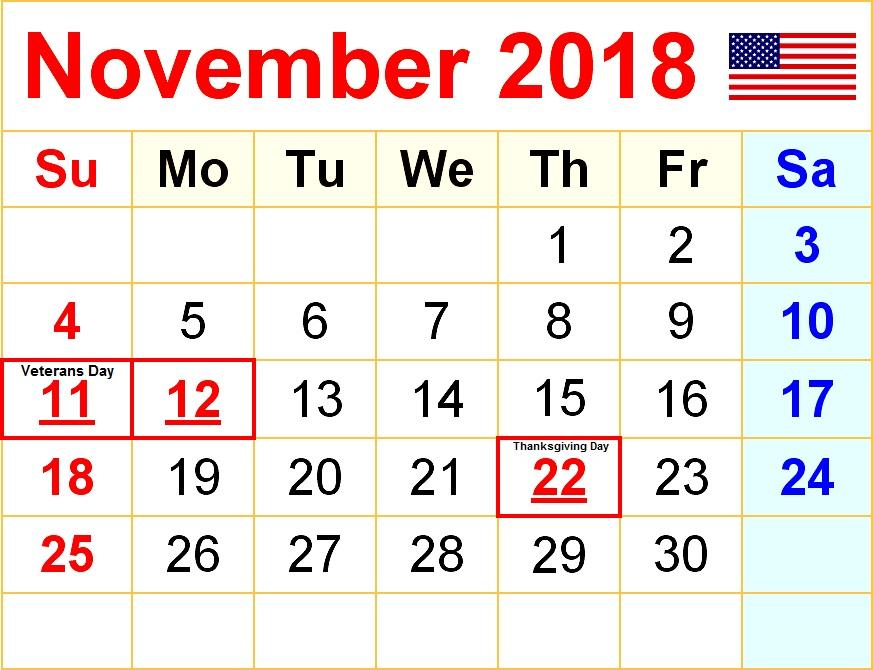 November 2018 USA Calendar