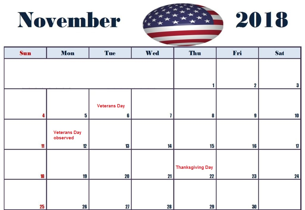 November 2018 USA Holidays Calendar
