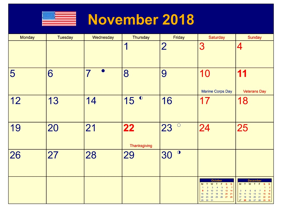 November 2018 USA Moon Phase Holidays Calendar