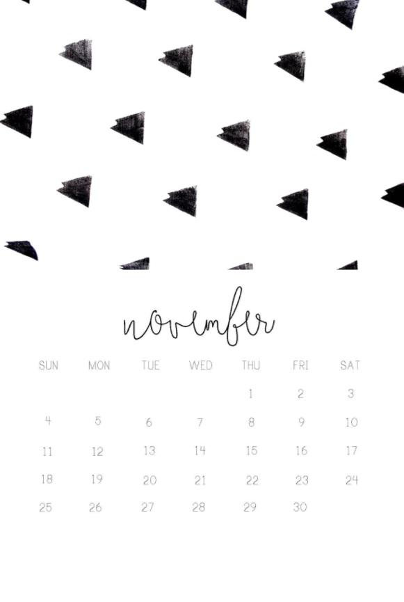 November 2018 iPhone Calendar Designs