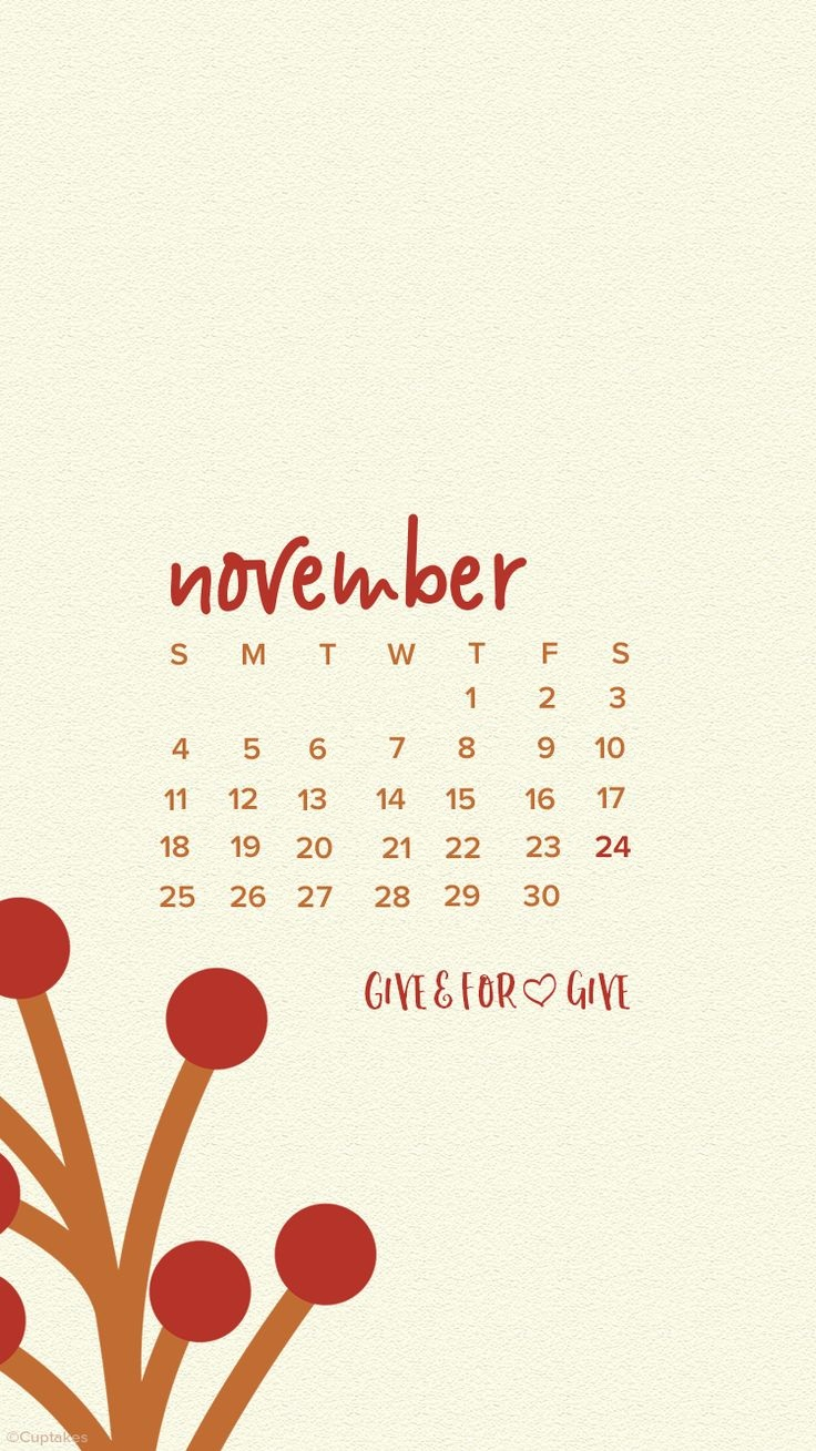 November 2018 iPhone Calendar Images