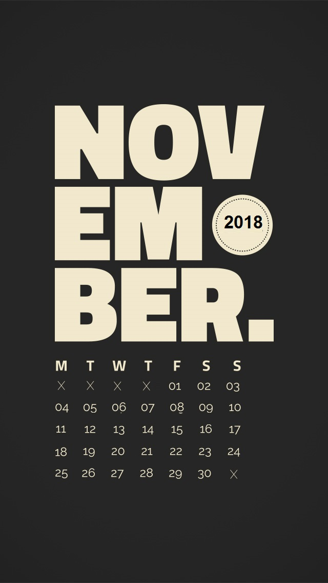 November 2018 iPhone Calendar Wallpapers