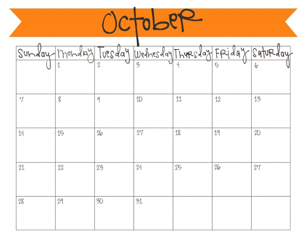 October 2018 Blank Calendar For Office Table