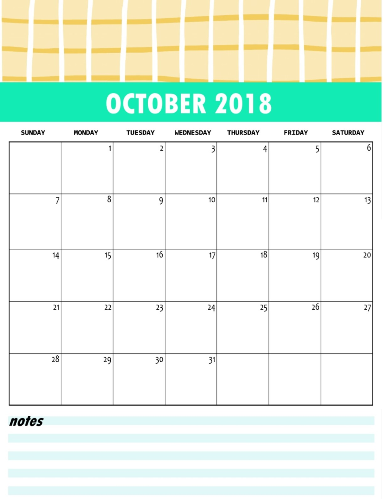 October 2018 Blank Calendar Page