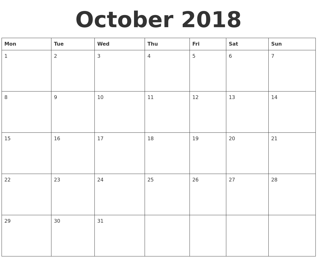October 2018 Blank Calendar Template Monday Start