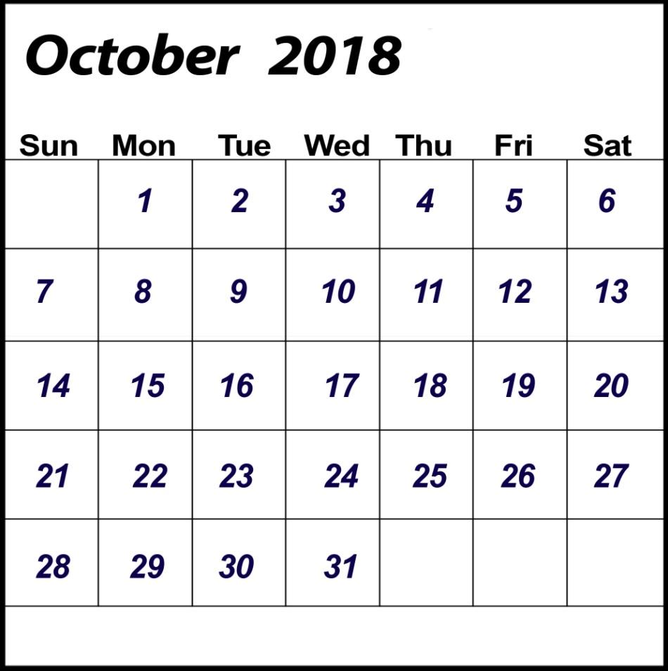 October 2018 Calendar Blank Templates