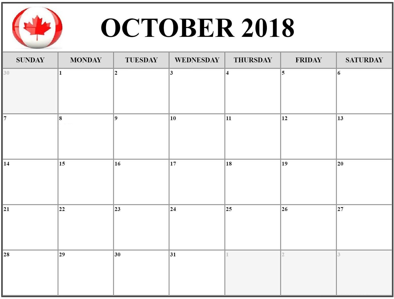 October 2018 Calendar Canada Printable