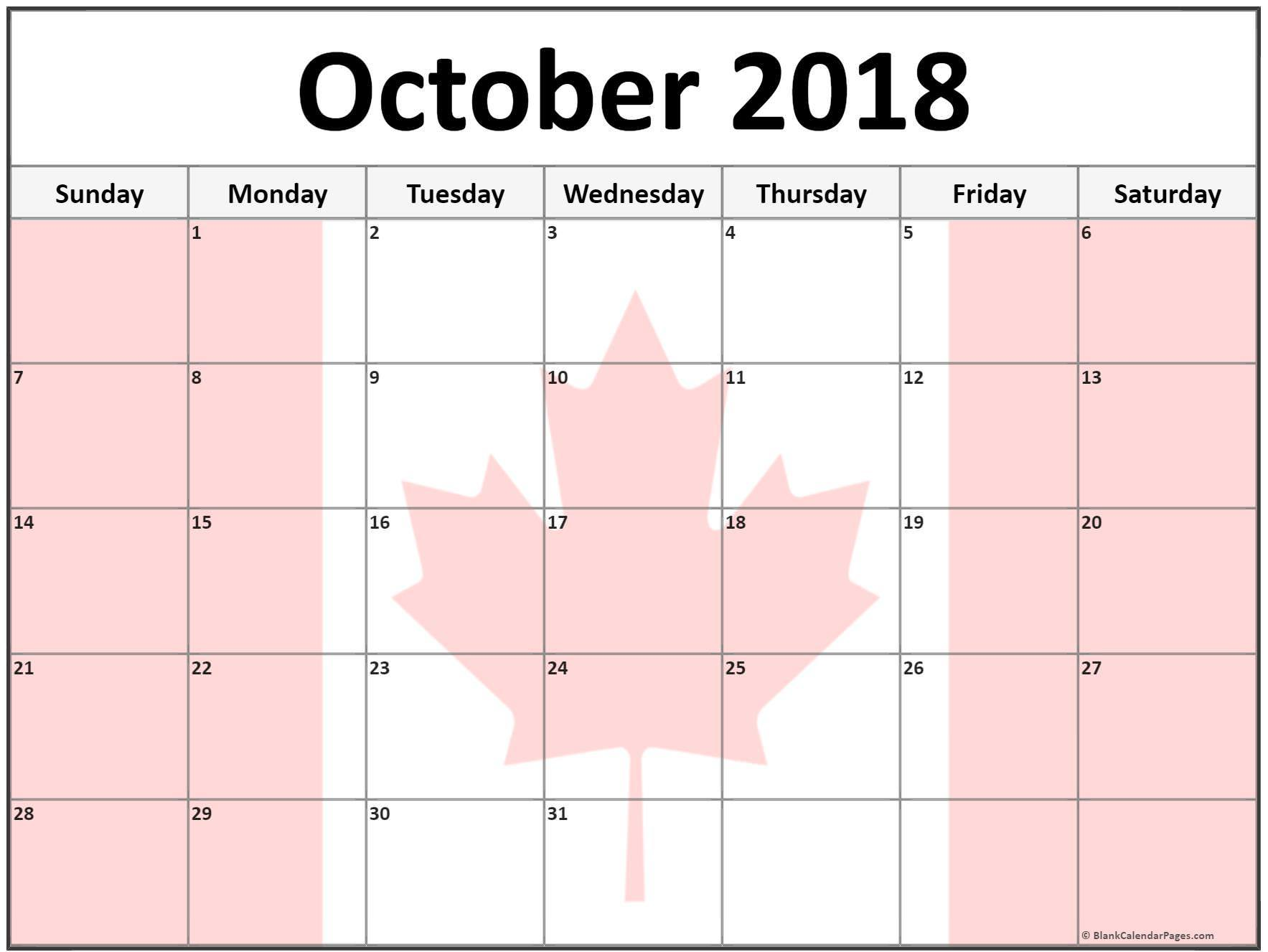 October 2018 Calendar Canada With Holidays