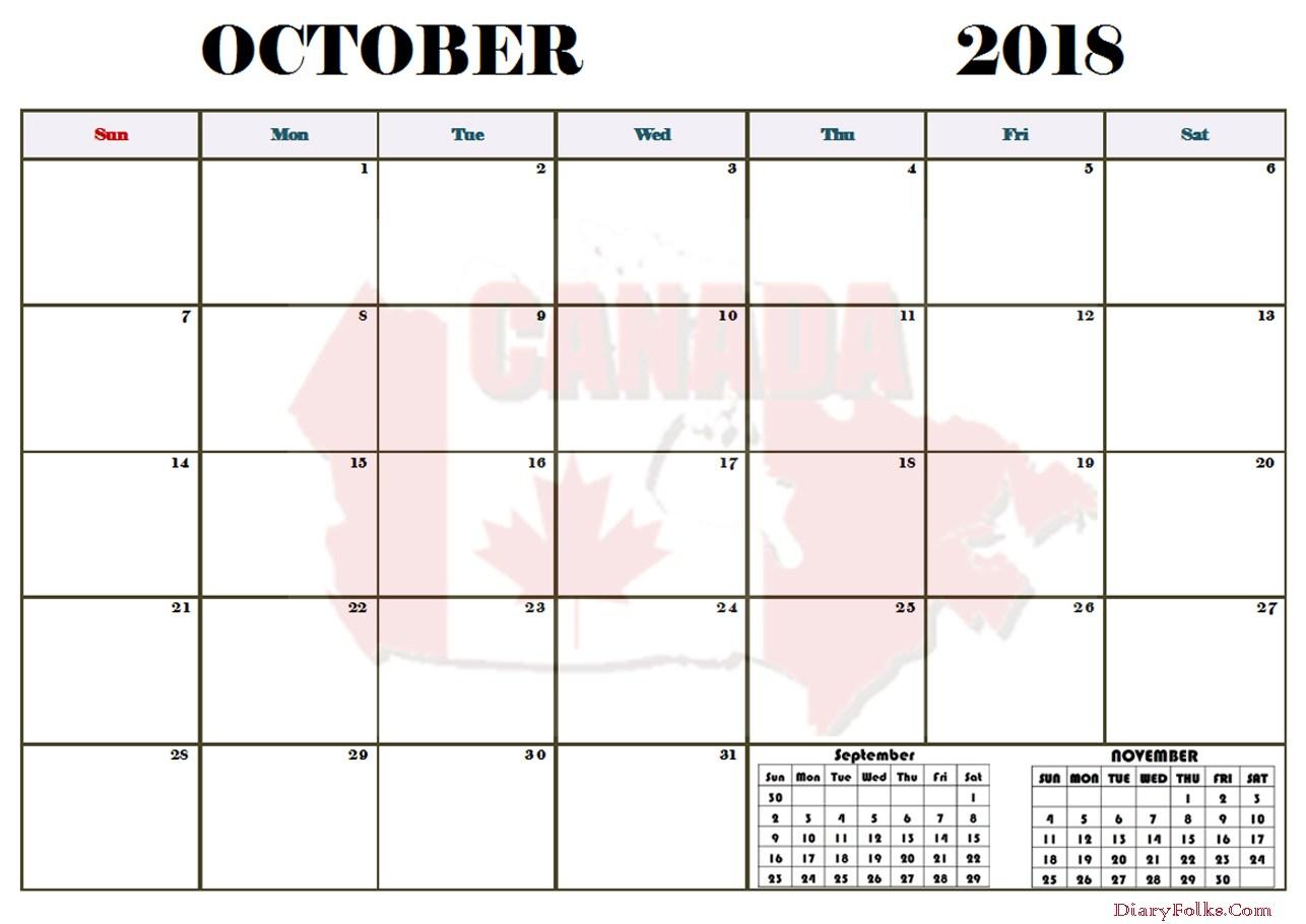 October 2018 Calendar Canada