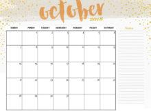 October 2018 Calendar Cute Printable