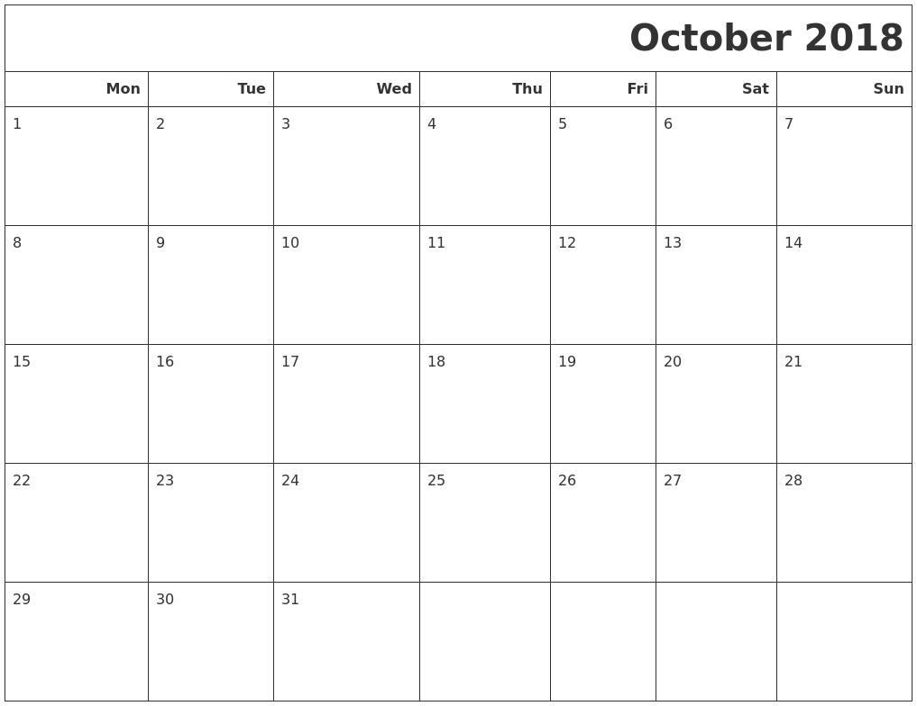 October 2018 Calendar Editable Holidays