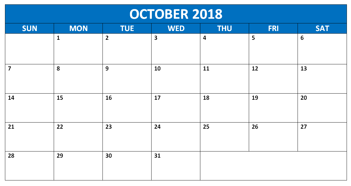October 2018 Calendar Editable Template