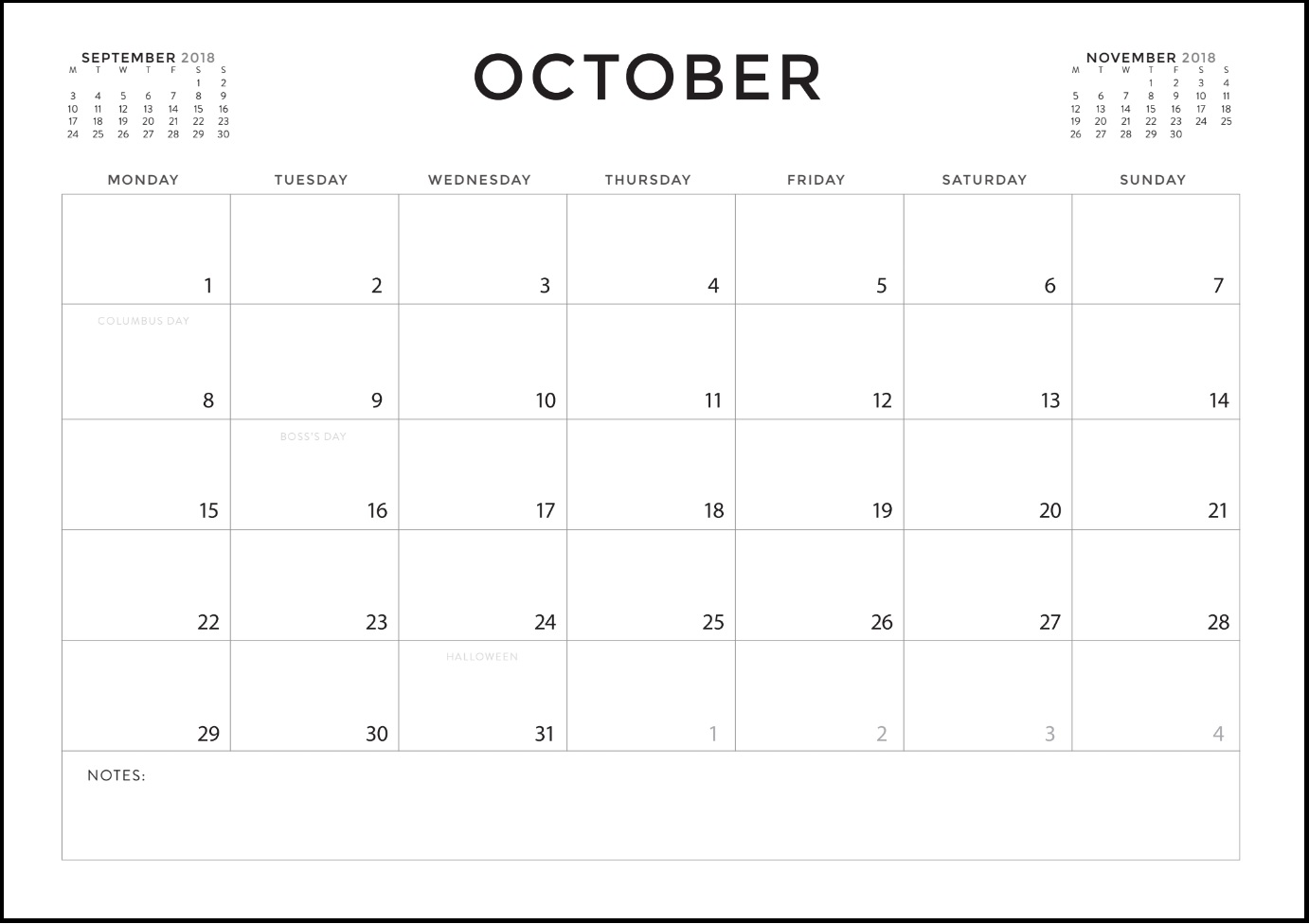 October 2018 Calendar Editable USA UK Canada