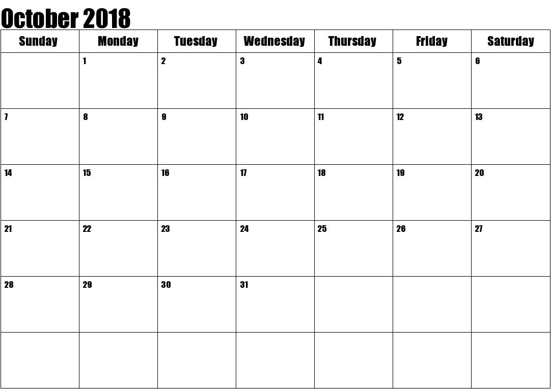 October 2018 Calendar Excel Format