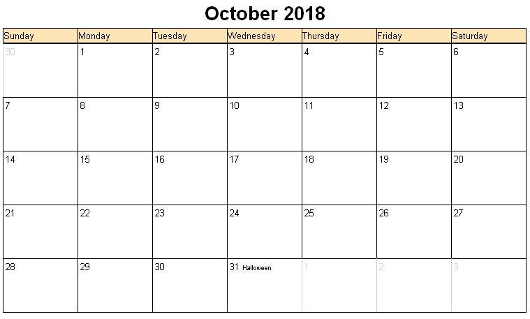 October 2018 Calendar Excel Notes