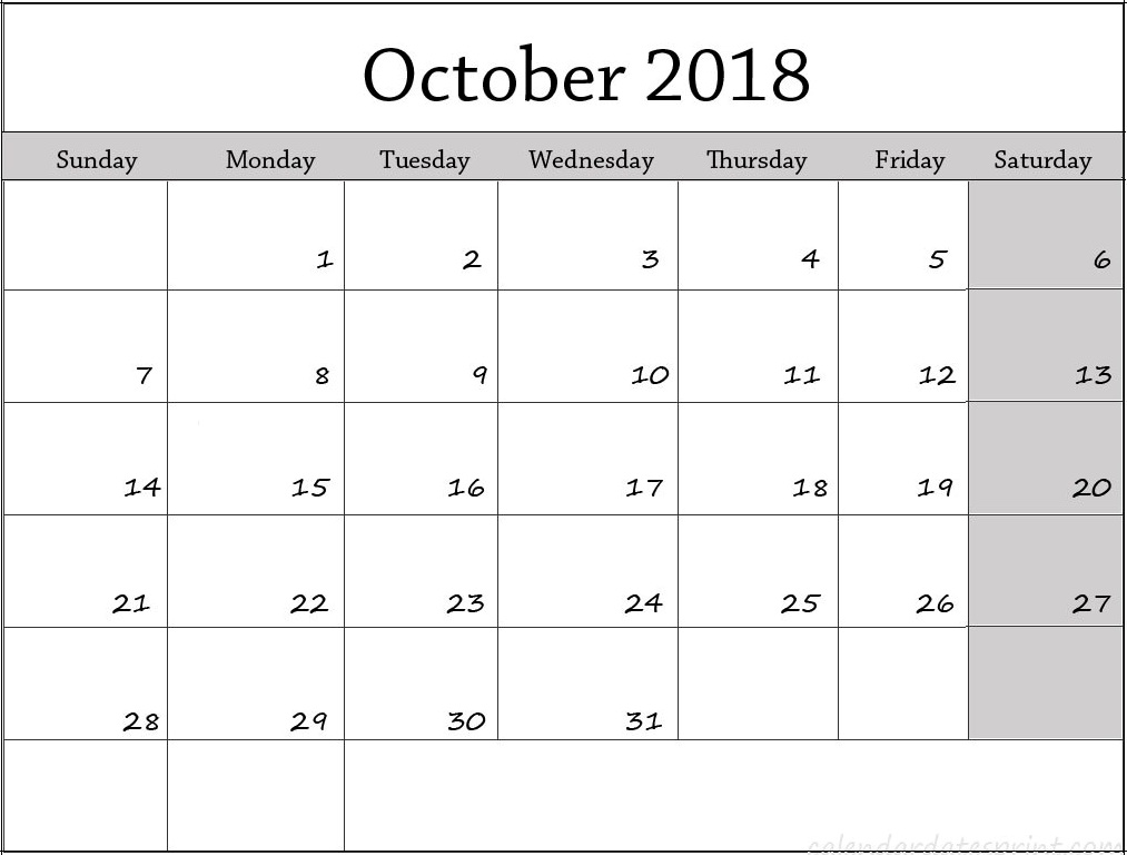 October 2018 Calendar Excel Printable