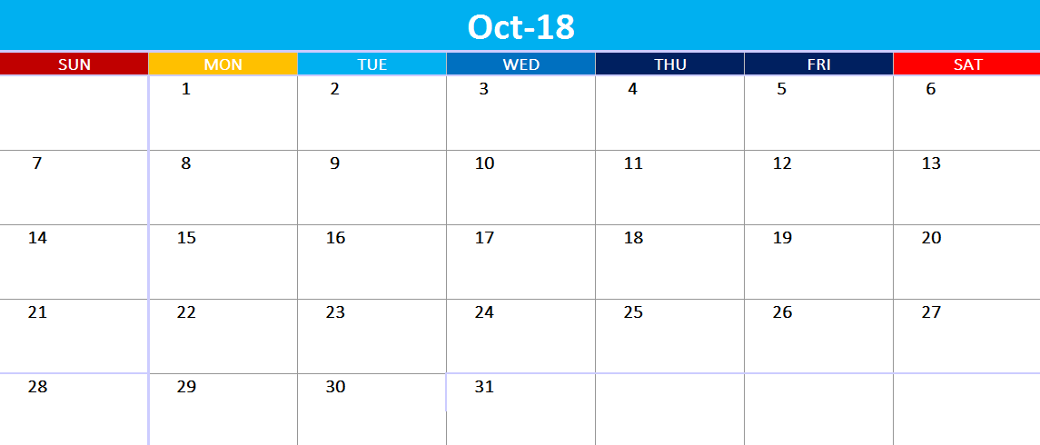 October 2018 Calendar Excel Template