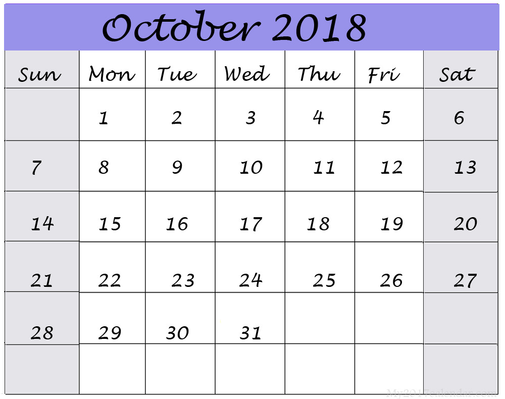 October 2018 Calendar Excel