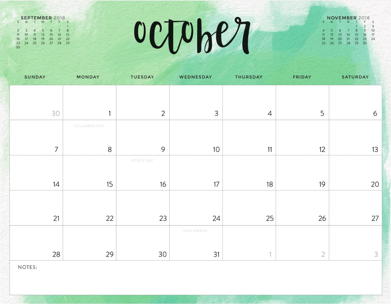 October 2018 Calendar For Desk & Wall