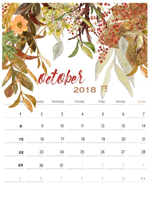 October 2018 Calendar For Office Table