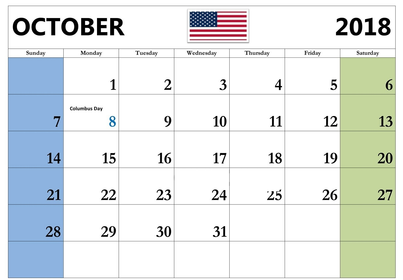 October 2018 Calendar Holidays USA