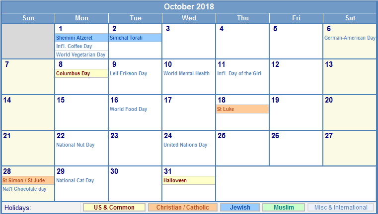October 2018 Calendar Holidays