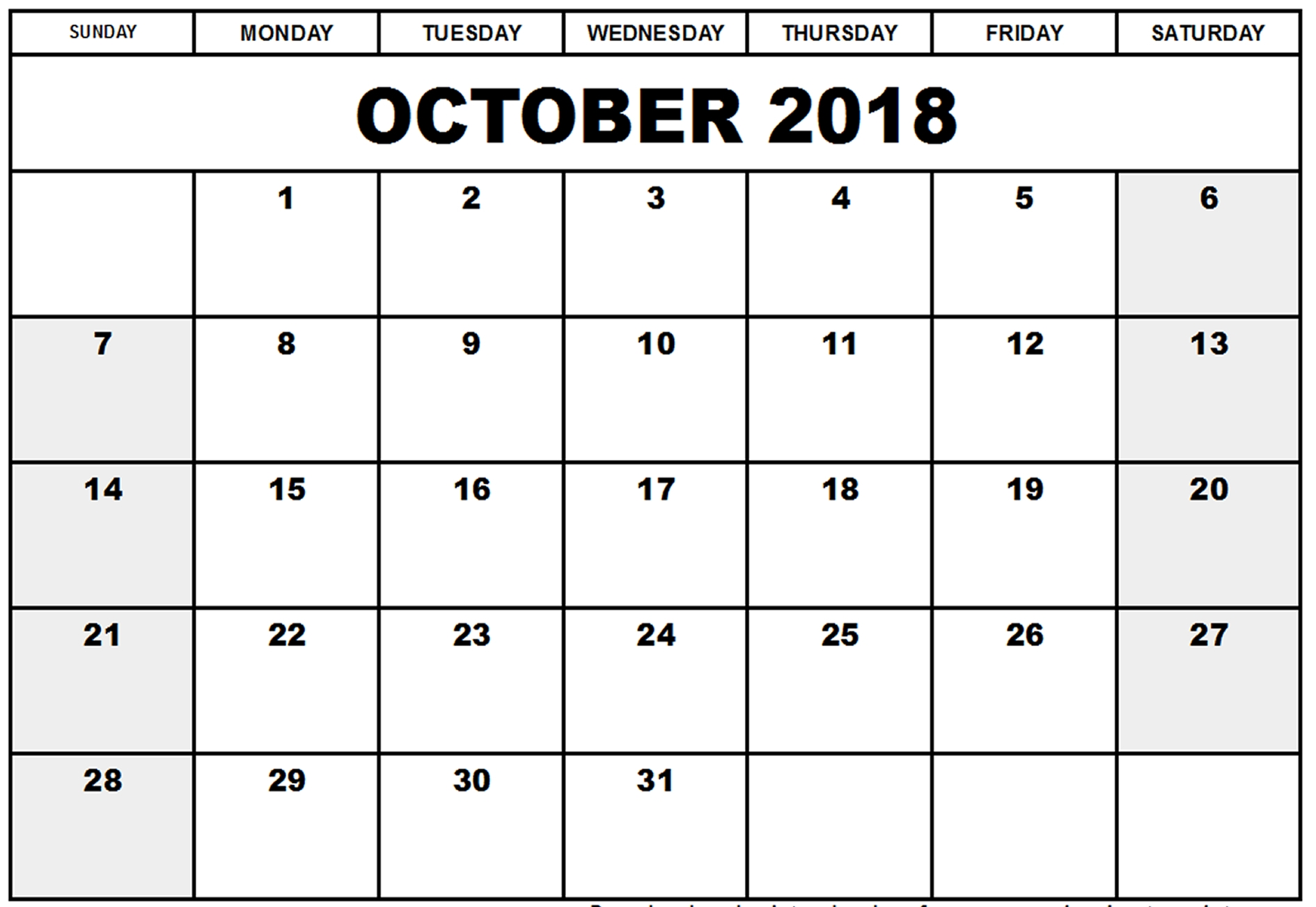 October 2018 Calendar In Excel