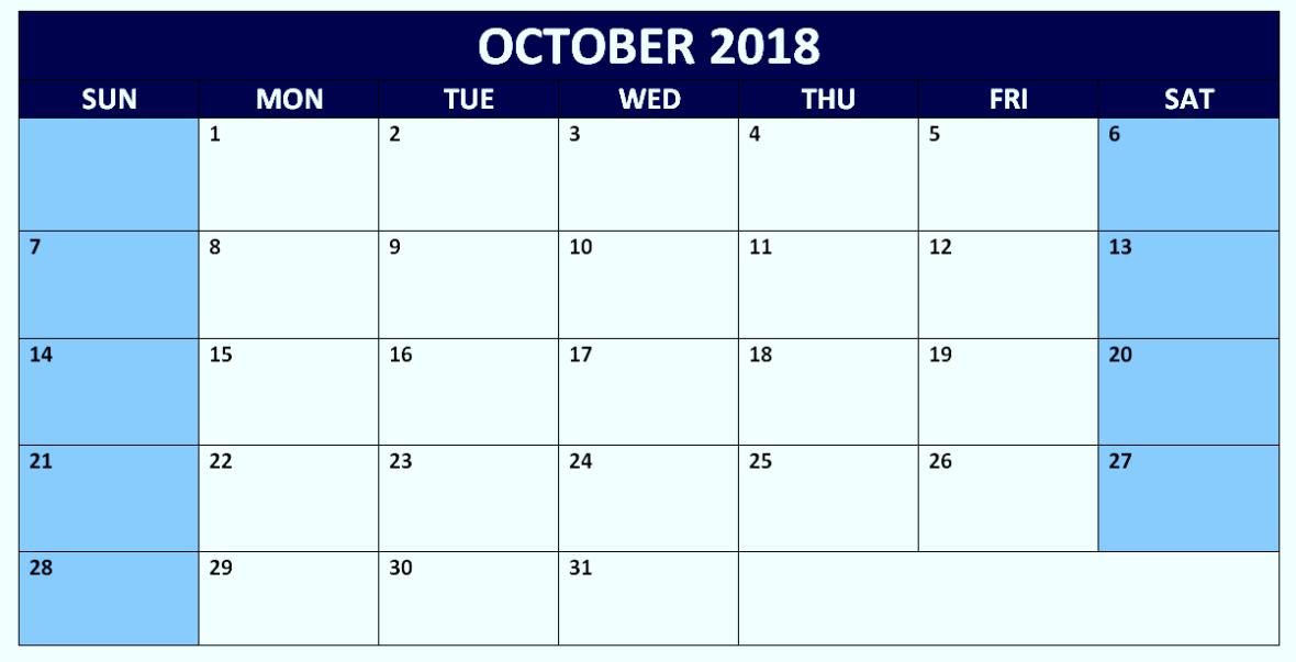 October 2018 Calendar PDF Printable